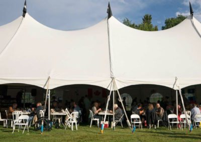 Dining under the tent (Photo Louise Abbott)